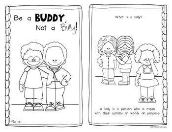 Be A Buddy Not A Bully Emergent Reader For Kindergarten And