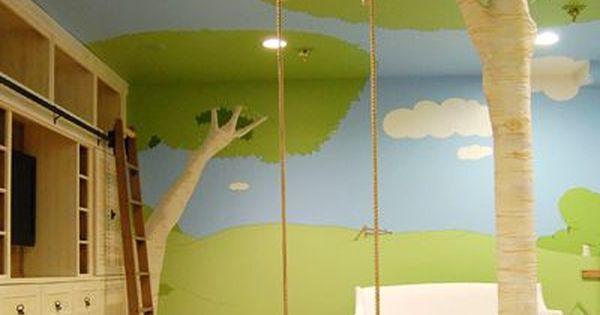 Great idea for a kids room! indoor tree swing :) Awesome playroom!