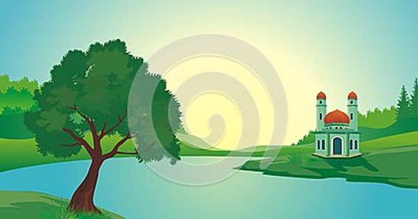 Mosque Near The Lake With Beautiful Natural Scenery Cartoon Design With Natural Scenery Cartoon Design Scenery