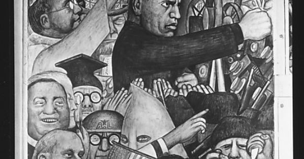 Mussolini panel of diego rivera 39 s mural for the new for Diego rivera mural new york