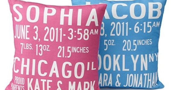 Birth Announcement Pillow- Great gift idea for new parents! :) agh!!