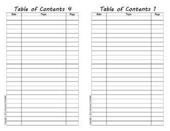 Table Of Contents For Interactive Notebooks A Fill In Form Using Adobe Reader Interactive Notebooks Math Interactive Notebook Table Of Contents
