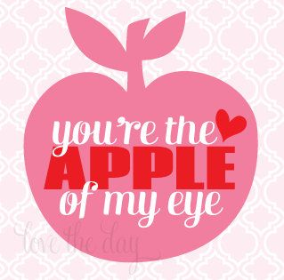 You Re The Apple Of My Eye Valentines Printables Happy Hearts Day Valentines Cards