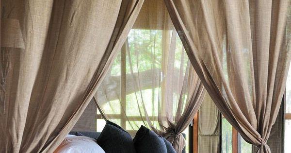 침실 : 커튼과 침대의 완벽한 궁합- 예쁜 침대인테리어 + 캐노피 ...
