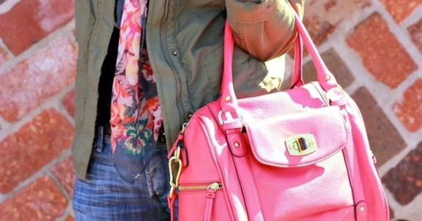 Jeans, khaki jacket, pinky floral scarf, pink tote. DONE :) I have