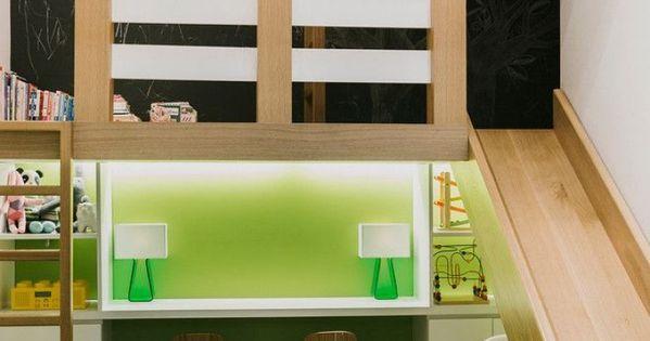 Dormitorio infantil de dise o con tobog n - Dormitorios infantiles con tobogan ...