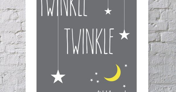 "Twinkle Twinkle Little Star Nursery 8x10"" Print - Moon and Stars Baby"