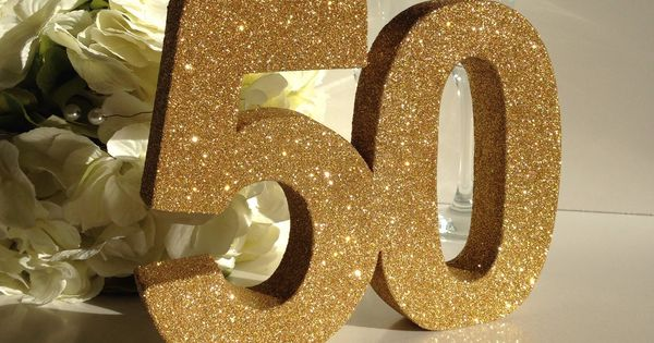Gold 50th birthday anniversary glitter number birthday for Glitter numbers for centerpieces