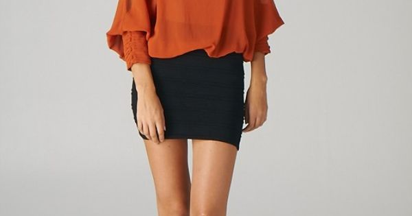 Pintucked Cuff Open-Shoulder Top (Brick) - Front wif a long necklace cute!