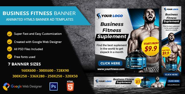 Fitness Ads Banner Html5 Gwd By Desainpro Designed With Google Web Designer And Provided 7 Most Frequently Used Banner Ads Google Web Designer Banner Sizes