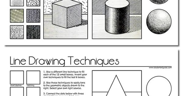 Line Drawing Techniques Worksheet : Free art teacher resources worksheets drawings and students