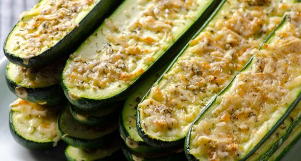 Parmesan Zucchini Sticks Recipe -- 20 minute oven roasted zucchini recipe that