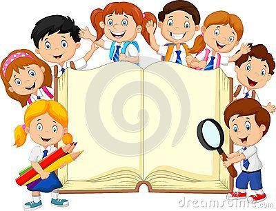 Cartoon School Children With Book Isolated Kids School Kids Education School Culture