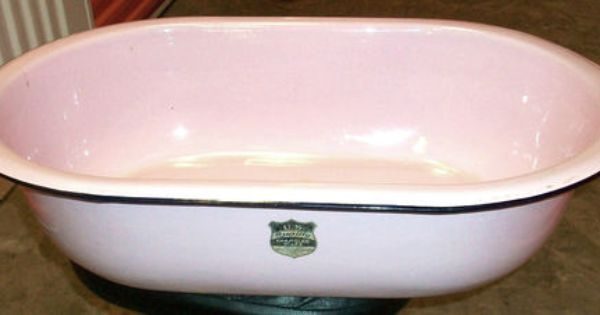 Vintage Pink Enamelware Bath Wash Tub Baby Basin Sink