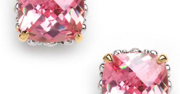 BaubleBar | Stud Earrings - Peach Cushion Cut Studs - Fashion Jewelry