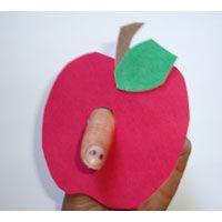Apfel Basteln Lernen Spiele Und Ausmalbilder Fur Kinder Apfel Basteln Fingerpuppen Basteln Basteln