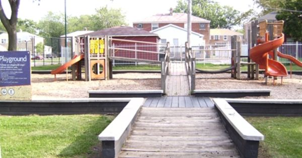 Located In The South Deering Community Merrill Playground Park Includes A Baseball Field Outdoor Basketba Outdoor Basketball Court Basketball Park Playground