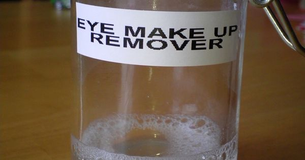 DIY Eye Make Up Remover: 1 cup water, 1 1/2 tablespoons Tear
