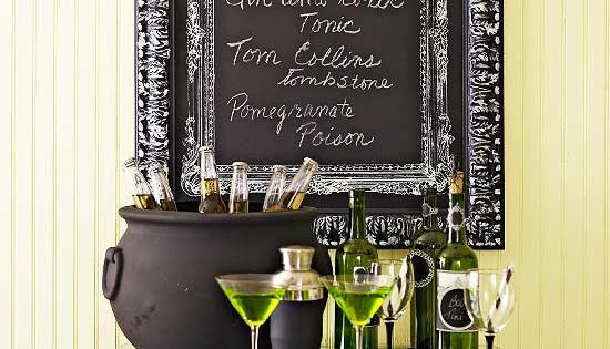 halloween bar, toxic beverage bar, Halloween party idea