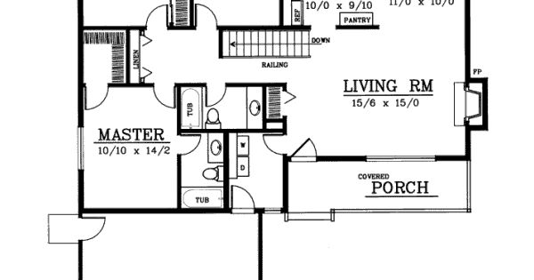 Ranch style house plans 1314 square foot home 1 story for Bedroom 70 square feet