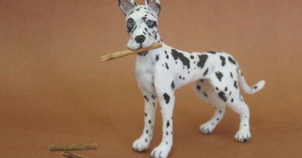 Ooak Realistic Miniature Dog 1 12 Harlequin Great Dane Igma
