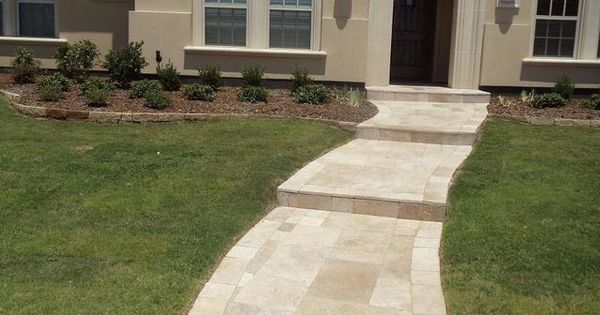 Travertine Walkway Installed By Precision Pavers In Plano