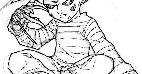 Freddy krueger cartoon drawings sketch coloring page - Pictures of freddy cougar ...