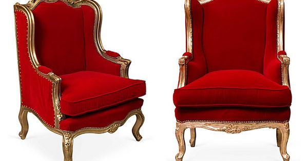Antique Red Velvet Chairs Pair On Onekingslane Com