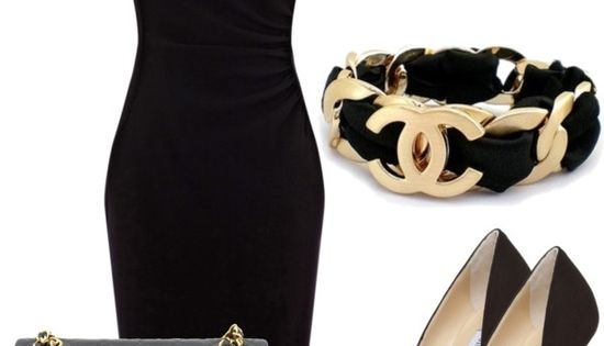 Women's Chanel little black dress and accessories. Entire outfit style fashion jewelry