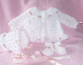 and bonnet to fit a baby age approx 0-3 months Matinee coat