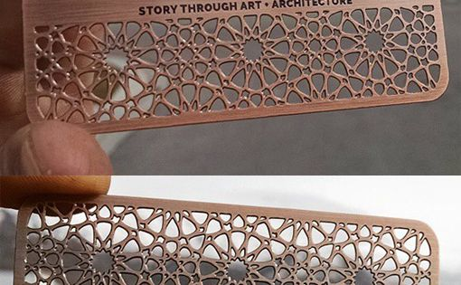 Intricate Laser Cut And Etched Metal Business Card For An Architect -
