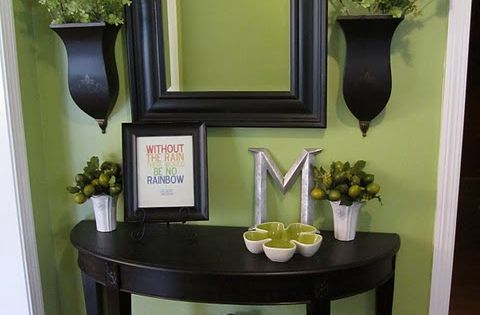 mirror, wall color, entryway table
