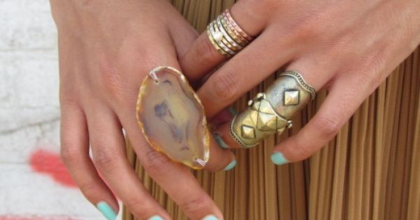 Love the nail color and the rings!