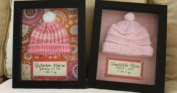 Baby hospital hats in a keepsake shadow box...great idea...I really should do