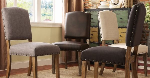 Benchwright premium nailhead upholstered dining chairs for Inspire q dining room chairs