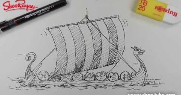 how to draw a viking longship step by step