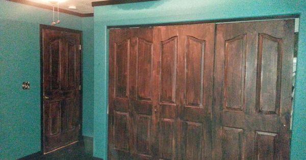 White Doors Given Wood Look Minwax Gel Stain In Brazillian