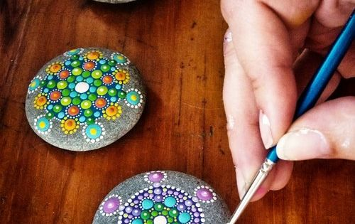 Hand Painted Stones. Paperweight. Stone art