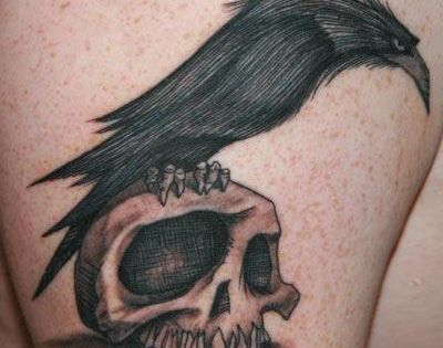 raven and skull tattoo. Love the style