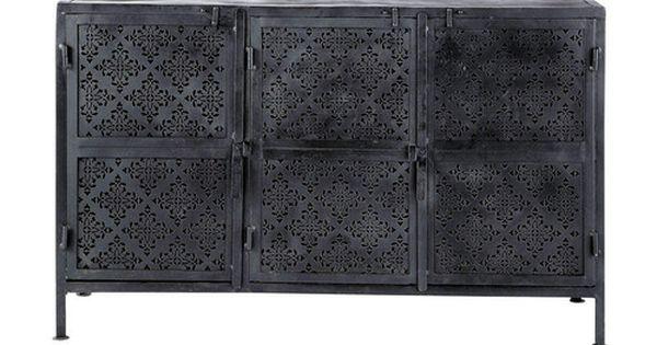 buffet en m tal noir l 130 cm indus pinterest m tal. Black Bedroom Furniture Sets. Home Design Ideas