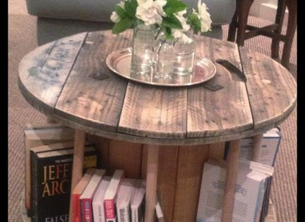 Cable reel book table, coffee table, end table, or bedside table...Love it!