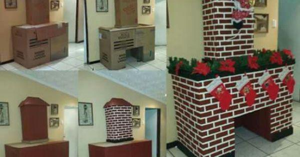 Chimenea de carton adornos pinterest chimenea de - Chimeneas de adorno ...