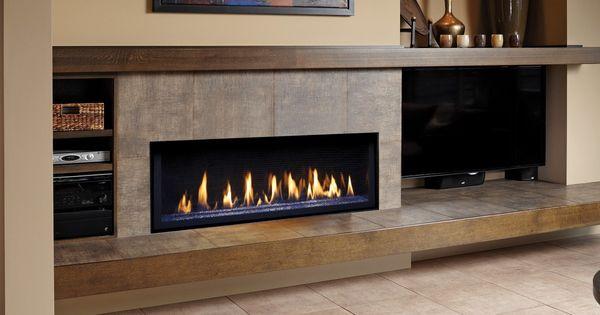 linear fireplace with long hearth and mantle - tv on the ...