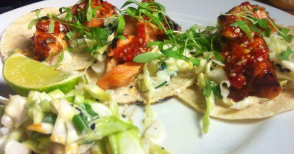 Salmon tacos, Asian slaw and Salmon on Pinterest