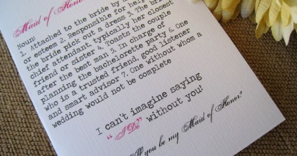 Write sweet letters to each of my Bridesmaids. :)