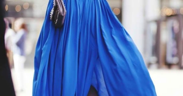 Cobalt blue maxi skirt... except for the shoes