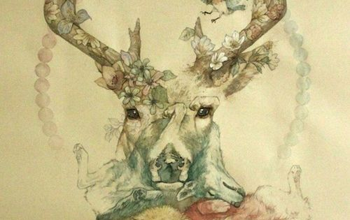 cute nature tattoo idea / sketch deer flowers coyotes birds