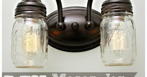 Mason Jar Vanity Lights Diy : DIY Mason Jar Vanity Light Mason Jars. Pinterest Vanities and Lights