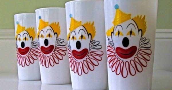 Vintage Milk Glass Clown Tumblers Vintage Milk Glass Tumbler