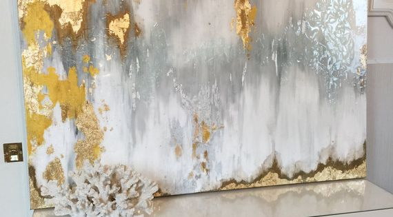 Gold leaf abstract art with gray and white ombre in Ikat inspired